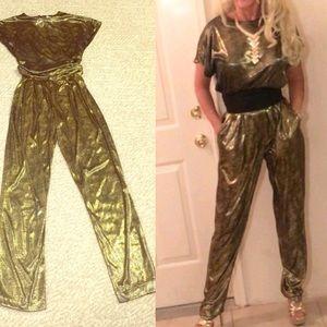 Vintage gold and black pants set